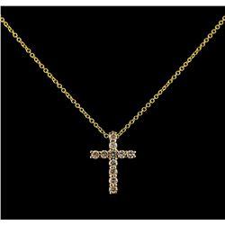 0.34 ctw Diamond Cross Pendant With Chain - 14KT Yellow Gold