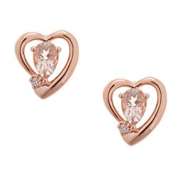 0.68 ctw Morganite and Diamond Earrings - 14KT Rose Gold
