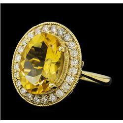 5.41 ctw Citrine Quartz  and Diamond Ring - 14KT Yellow  Gold