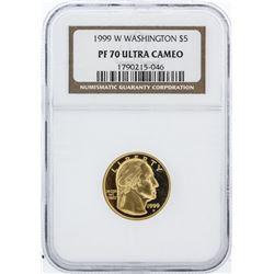 1999-W NGC Graded Ultra Cameo PF70 Washington $5 Commemorative Gold Coin