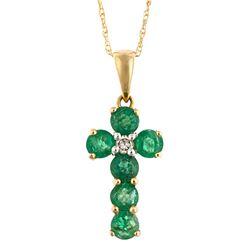 0.62 ctw Emerald and Diamond Pendant - 14KT Yellow Gold