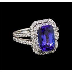 14KT White Gold 3.58 ctw Tanzanite and Diamond Ring