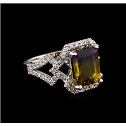 3.73 ctw Ametrine and Diamond Ring - 14KT White Gold