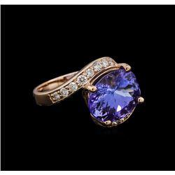 5.00 ctw Tanzanite and Diamond Ring - 14KT Rose Gold