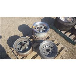 "3 PONTIAC 15"" RALLY WHEELS AND 1 15""X7"" GENERAL ALUMINUM WHEEL"