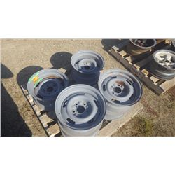"4 15""X7"" CORVETTE/CAMERO RALLY WHEELS AND 2 15""X8"" CAMERO/CORVETTE RALLY WHEELS (ONE DAMAGED, REPAIR"