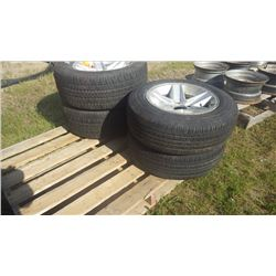 "SET OF 4 15""X7"" RALLY WHEELS, 2 WITH DUNLOG GT QUALIFER TIRES 255/60/R15, 2 WITH WORN 205/65/R15"