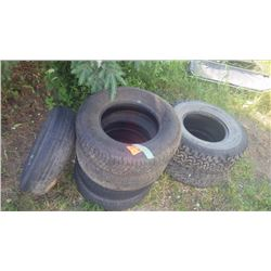 7 MISC TIRES (2 BF GOODRICH A/T 31/10.5/R15 LT, 2 ALL TREX 215/70/R15 (WHITE WALL), 2 NORDIC WINTER