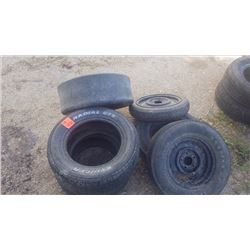 "6 VARIETY TIRES (1 14"" DODGE RIM WITH GOODYEAR É2??? WITH POLYGLAS BELTED TIRE E70/14, 1 GOODYEAR RA"