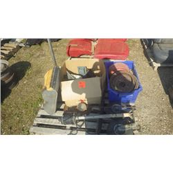 PALLET WITH BRAKE DRUMS, HEADLITE BEZELS, BUMPER JACK, REAR SEAT CUSHION, SUMP PUMP, CASTOR WHEELS