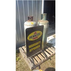 2 PROPANE TANKS AND PENZOIL SIGN