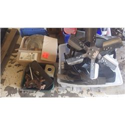 PALLET OF MISC ENGINE PIECES AND PARTS, HEI DISTRIBUTORS, GAUGES, SHIFTER, COOLING FAN, ETC