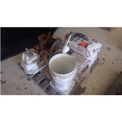 PALLET OF 3 BAGS OF SILICA ABRESIVE 2 ELECTRIC CEILING FANS, METAL AHALID LIGHT FIXTURE, DIFFERENTIA