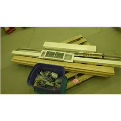 VARIOUS WOOD TRIM, COLD AIR REGISTERS, ELECTRICAL PARTS AND BOXES
