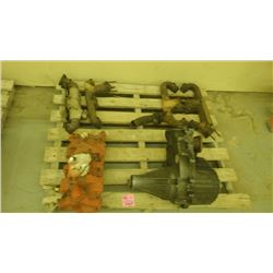 2 CHEV EXHAUST MANIFOLD, INTAKE MANIFOLD, TRANSFER CASE FOR 4 WHEEL DRIVE