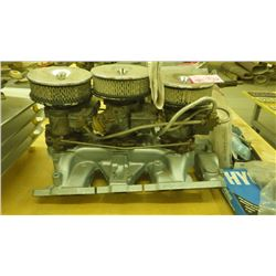 PONTIAC TRI-POWER INTAKE MANIFOLD, CARBS AND AIR CLEANERS, COMES WITH CARB REBUILT KIT
