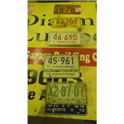 GROUP OF SASKATCHEWAN AND ALBERTA LICENSE PLATES 1939 TO 2001