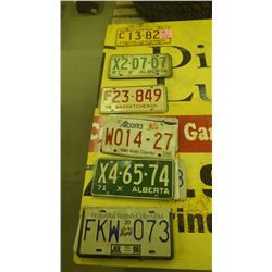GROUP OF SASKATCHEWAN, ALBERTA  AND BC LICENSE PLATES 1967 - 2004