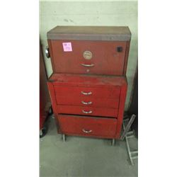 TOOL BOX CHEST AND ROLLER WITH CONTENTS