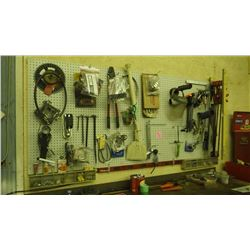 PEG BOARD OF CONTENTS OF VARIOUS TOOLS AND SUPPLIES