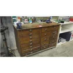 VINTAGE OAK CABINET WITH VARIOUS CONTENTS
