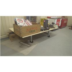 HEAVEY DUTY STEEL FRAME WORK BENCH ON WHEELS WITH WOOD TOP