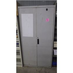 METAL 2 DOOR CABINET AND CONTENTS