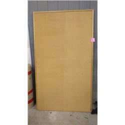 LARGE CORK BOARD AND 2 OFFICE CHAIRS