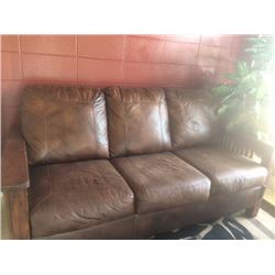 TWO PIECE BEAUTIFUL MISSION STYLE BROWN LEATHER SOFA WITH RECLINING CHAIR
