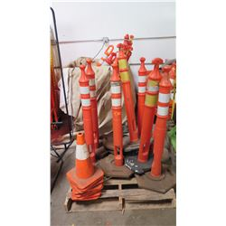 Misc. Pallet of Approx. 25 Orange Delineators and Cones