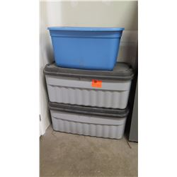 Qty 3 Misc. Plastic Storage Containers