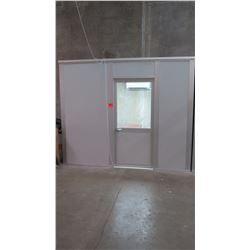 Modular Office Cube - The section that is up against the concrete wall is open (no wall on that side