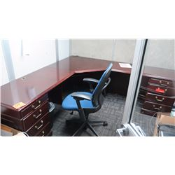 L-Shaped Cherry Veneer Modular Desk, Chair, Cabinets and 3-Shelf Bookcase