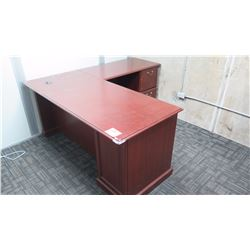 Cherry Veneer Desk and Cabinet and Book Case