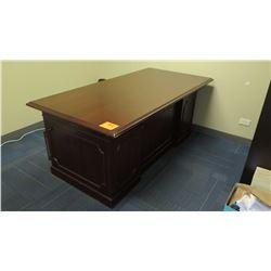 Cherry Wooden Desk w/ Bevelved Detailing & Drawers