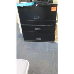 3-Drawer Metal Lateral File Cabinet, Black