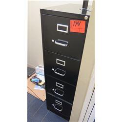 4-Drawer Tall Metal File Cabinet, Black