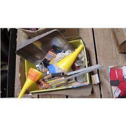 Contents of Box: Funnels, Clamps, Paint Supplies, etc.