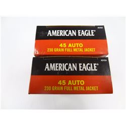 100 ROUNDS AMERICAN EAGLE .45 AUTO 230 GR FMJ