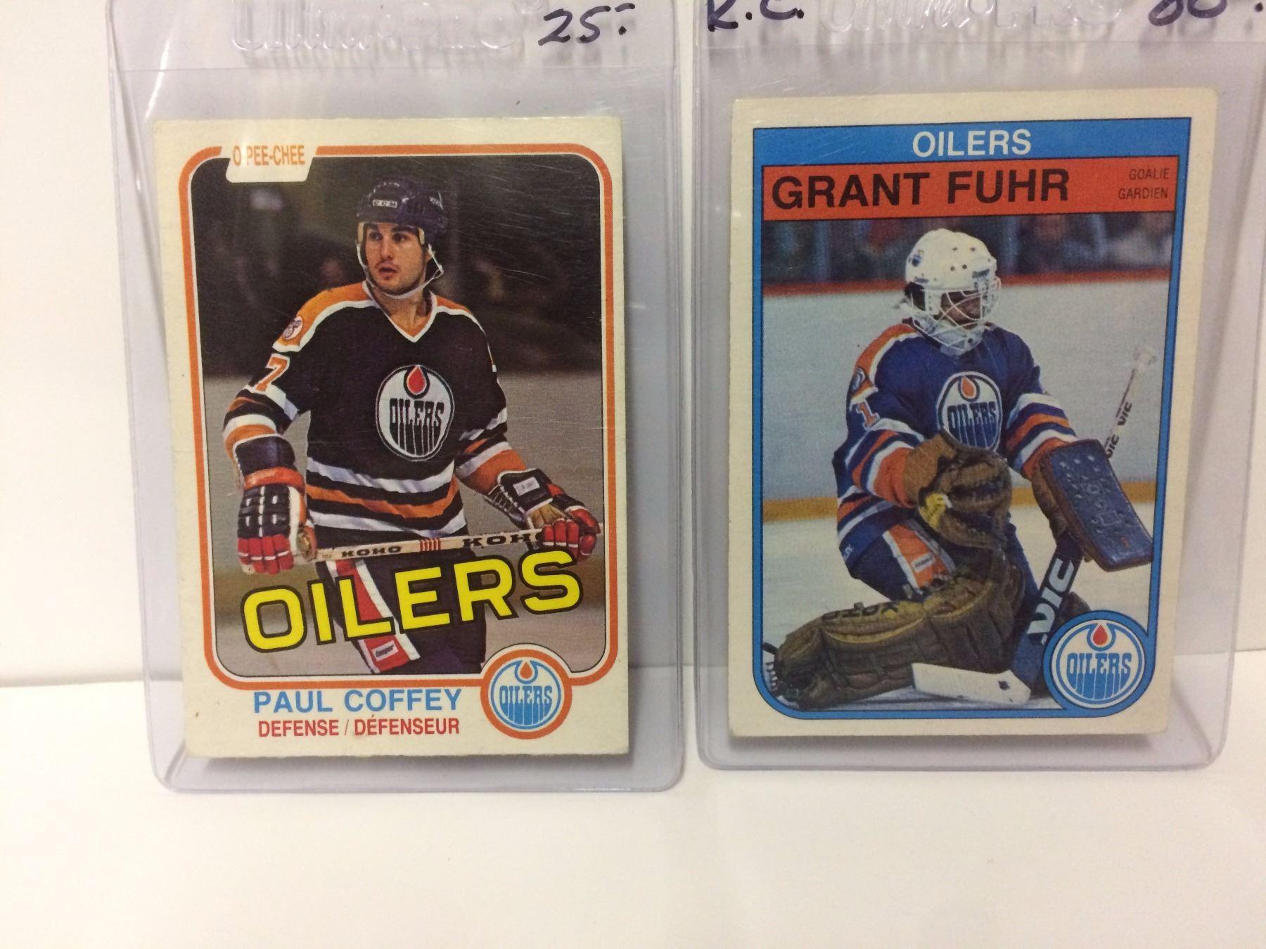 1980 Opc Paul Coffey Rookie Card 111 Edmonton Oilers 1982 83 Grant Fuhr Rookie 105 Opc