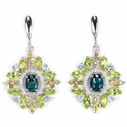 Natural London Topaz & Multi Gemstone Earrings