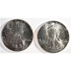 2- UNC 1993 AMERICAN SILVER EAGLES