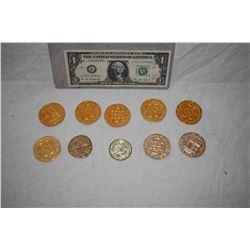 PIRATES OF THE CARIBBEAN LOT OF 10 SCREEN USED TREASURE COINS 07 C-GRADE