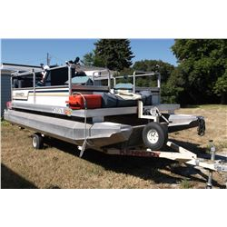 1991 Kennedy Pontoon Boat- Trailer- 16'- Johnson 28 HP outboard- Fish Finder- Dual Tanks