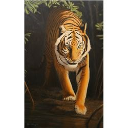 "Artist's Original Painting of a Tiger. Title: ""Walking into the Light"""