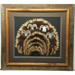 Sheep Grand Slam on Mirrians Wild Turkey Tail Feathers
