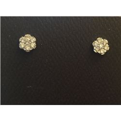 14K Gold Diamond Cluster Stud Earrings