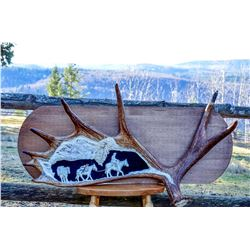 """7 Point Pack Trip"" moose antler carving by Diane Erdman"