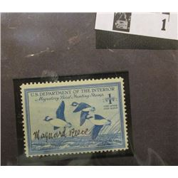 1948 U.S. Department of the Interior Migratory Bird Hunting Stamp, RW#15, Light hinge, Signed by the