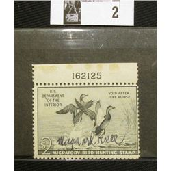 1951 U.S. Department of the Interior Migratory Bird Hunting Stamp, RW#18, Not hinged, but disturbed